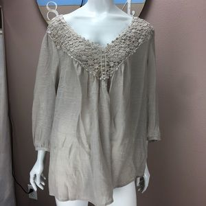 Spence Crochet Knit Blouse 3/4 Sleeve Plus Size